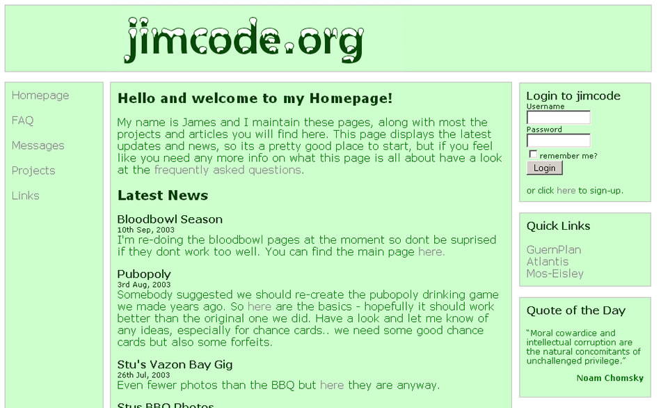 Jimcode org Over the Years · Freelance Web Development in Guernsey